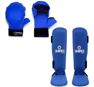 Kit Luva + Caneleira Karate Azul Ou Vermelha Homologada Cbk