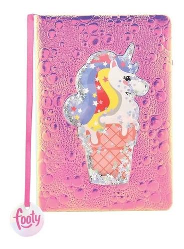 Imagen 1 de 3 de Cuaderno Footy Holografico Con Confeti 60 Hojas