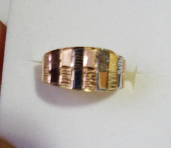 Anel Tricolor Ouro 18k 750 Amarelo Branco Rose. 12x S Jrs