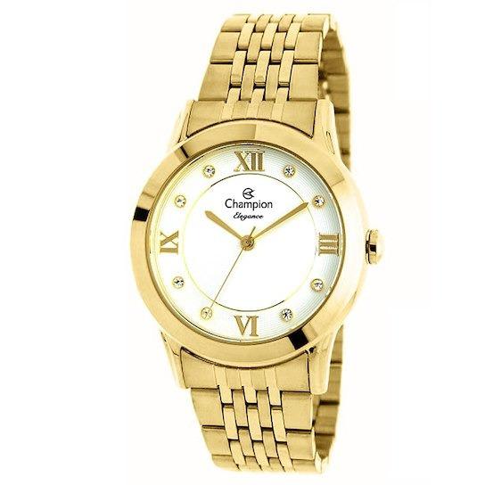 Relógio Femininio Champion Dourado Elegance Cn26957h
