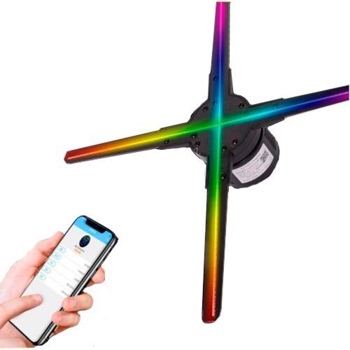 Projetor Display Holograma Ventilador Led 3d 50cm 4 Pás Com Wi-fi Controle Através De Aplicativo