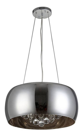 Lustre Pendente Vidro Cristais Legítimos 40cm Cromado - R019