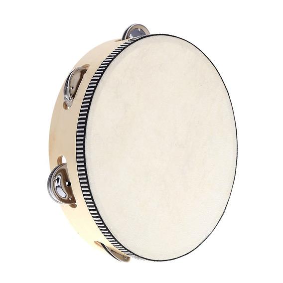 8 Mão Held Tambourine Tambor Sino Bétula Metal Jingles