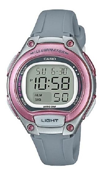 Relógio Casio Feminino Digital Lw-203 8av Cinza Rosa