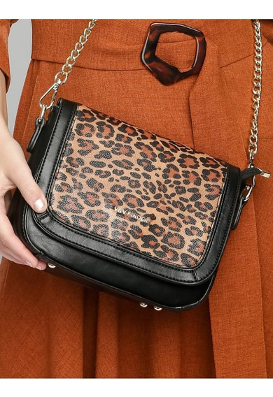 Bolsa Feminina Tiracolo Preta - Animal Print. Super Fashion!