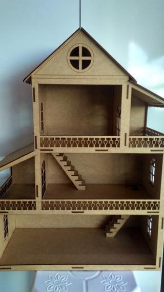 Casa De Boneca Polly Brinquedo Artesanato Em Mdf.