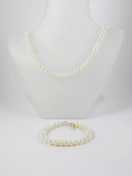 Juego Collar Y Pulsera De Perla