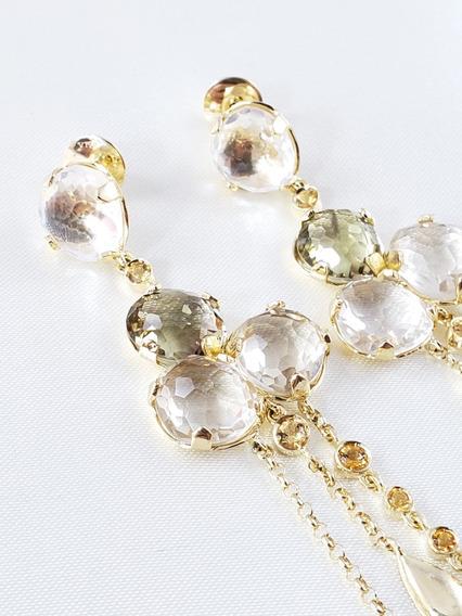 Vivara Brincos Pendente Ouro Amarelo Com Quartzos E Diamantes