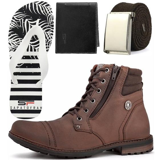 Kit Bota Masculina Casual Sapato Coturno Lançamento Black