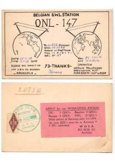 Belgica Argentina 1958 Tarjeta De Radioaficionado