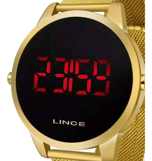 Relógio Dourado Lince Led Digital Esteira Unissex Mdg4586l