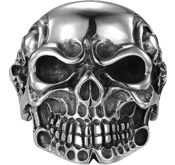 Anel Aço Inox Punk Rock Gótico Metal Harley Cosplay Caveira