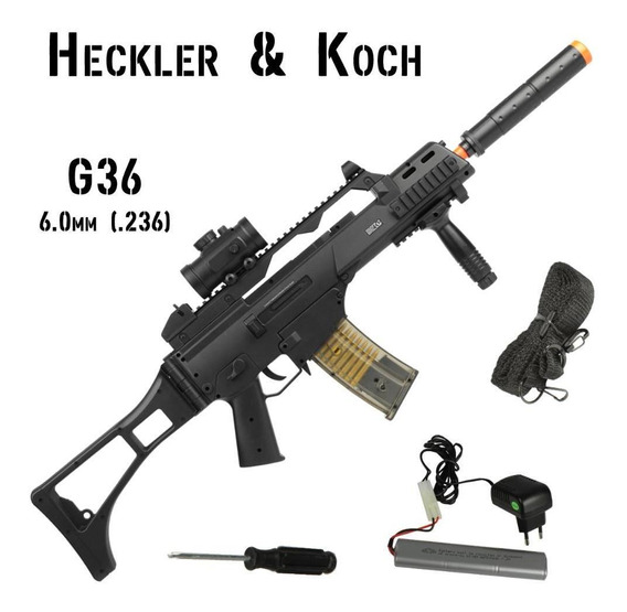 Fuzil Rifle Airsoft Elétrico Umarex H&k G36 Bivolt 6mm