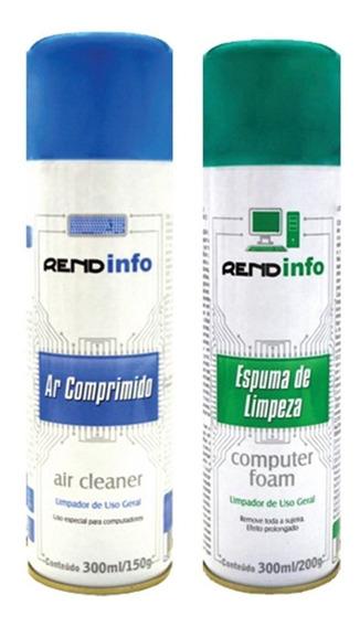Kit Ar Comprimido Spray + Espuma Limpeza Antiestática 300ml