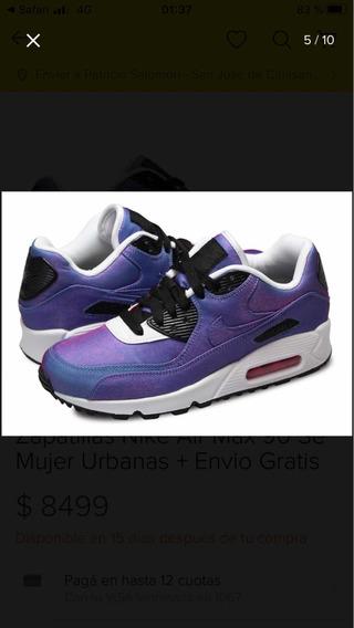 Zapatillas Nike Air Max 90 Se Violeta Tornasolado Talle 36
