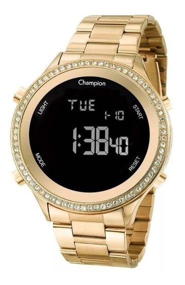 Relógio Champion Dourado Digital Lançamento Nota Fiscal Cx