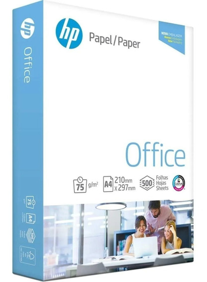 Pacote Papel Sulfite A4 75g 500fls Branco Hp Office
