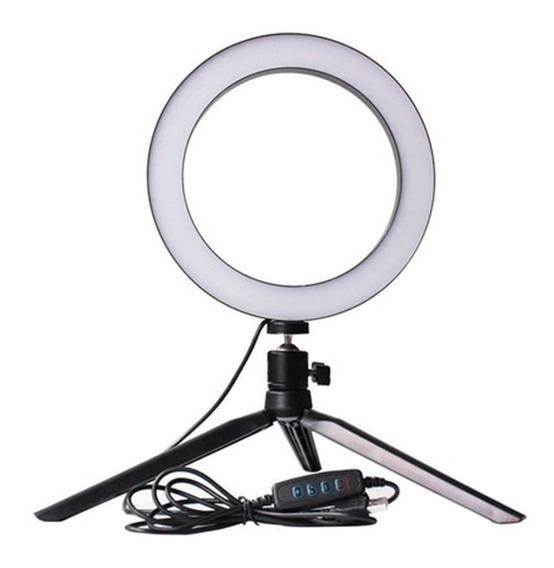 Mini Iluminador Ring Light De Mesa 56 Leds 8 Polegadas