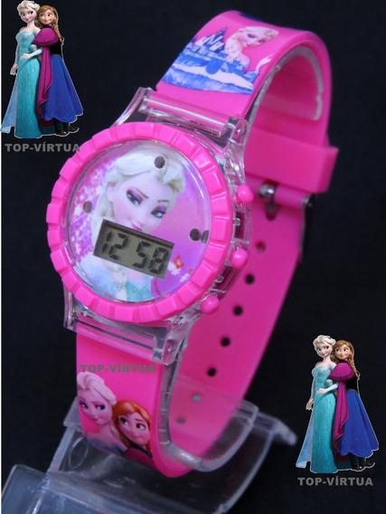 Relógio Da Frozen 3d Rosa Digital Infantil Com Som E Luzes Original C330