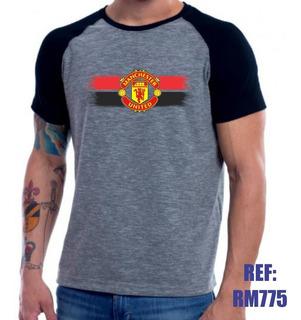 Camisa Raglan Manchester United Futebol Personalizada Mescla