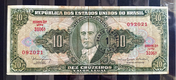 Cedula 10 Cruzeiros Getulio Vargas Estampa 2a Mbc