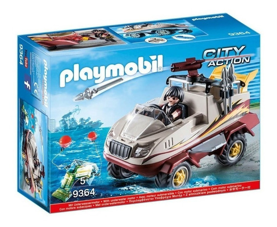 Playmobil City Action 9364 Auto Anfibio Con Motor Submarino