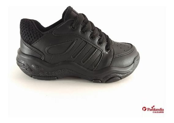 Zapatillas Plumitas Colegial Cordon Negro Blanco N° 34 / 37