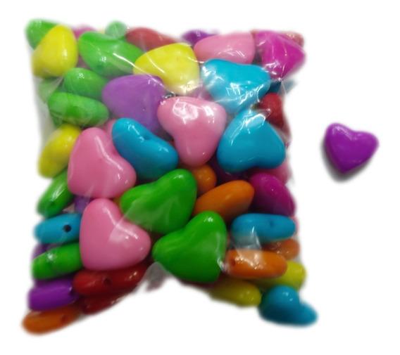 Corazón. Grande De Colores 100pz Para Armar Pulseras