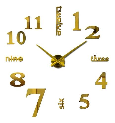 Reloj De Pared 3d Tamaño Mini 50 X 50 Cm  Color Dorado