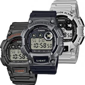 Reloj Caballero Casio W735 Caucho - Alarma Vibratoria - Led