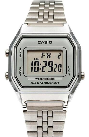 Relógio Feminino Casio Digital Prateado Vintage La680wa-7df