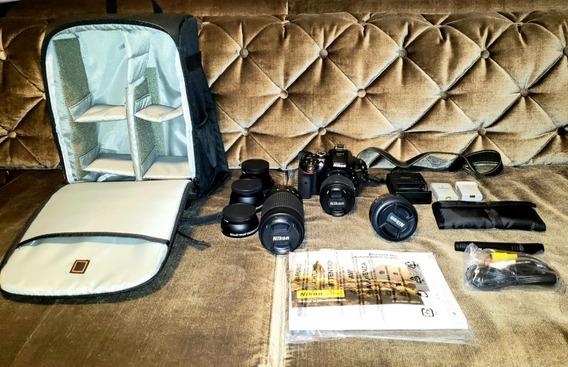 Nikon D5300 18-55mm+50mm+70-300mm 32gb+ Bolsa + Acessórios
