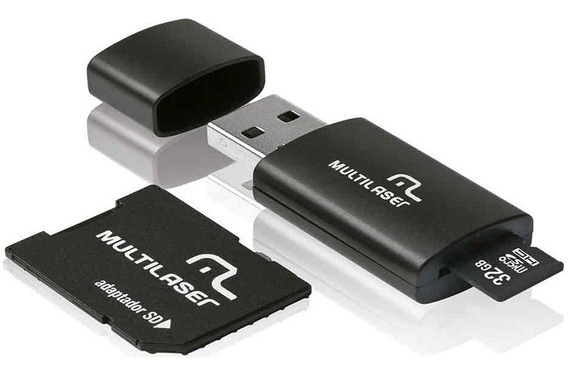 Cartao De Memoria - Multilaser 3x1: Pendrive + Adaptador Sd + Classe 10 - 32gb - Mc113