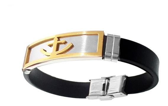 Bracelete Silicone Masculina Placa Âncora Aço Banhado A Ouro