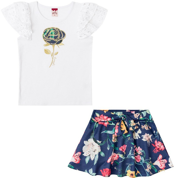 Blusa E Shorts Saia Conjunto Infantil Feminino Bg/g22095