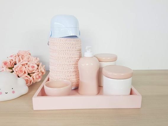 Kit Higiene Bebe Porcelana Rosa Garrafa Com Capa