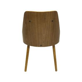 Cadeira Com Encosto Vergado Retrô Branco E Pés Em Madeira