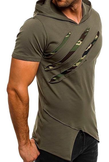 Remera Hombre Con Capucha Entallada Camuflado Moda A24