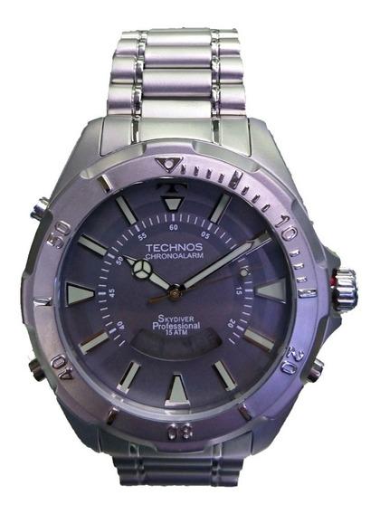 Relógio Technos Skydiver Prata Grafeno Grande T205fm/1c
