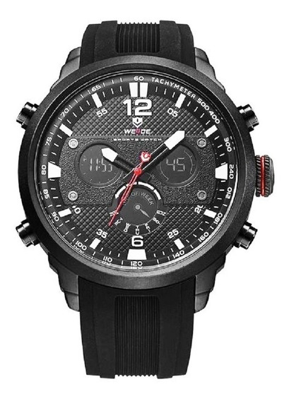 Relógio Masculino Weide Original Pulseira Borracha Pto 6303