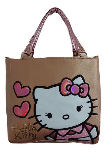 Imagen 1 de 7 de Bolsa De Mano De Dama, De Hello Kitty En Color Dorado Oscuro