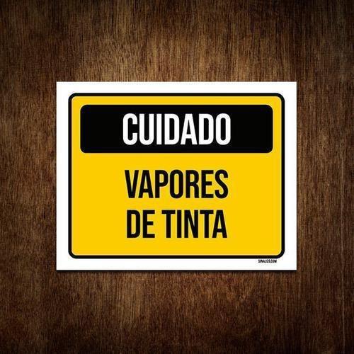 Placa De Sinalização - Cuidado Vapores De Tinta 36x46