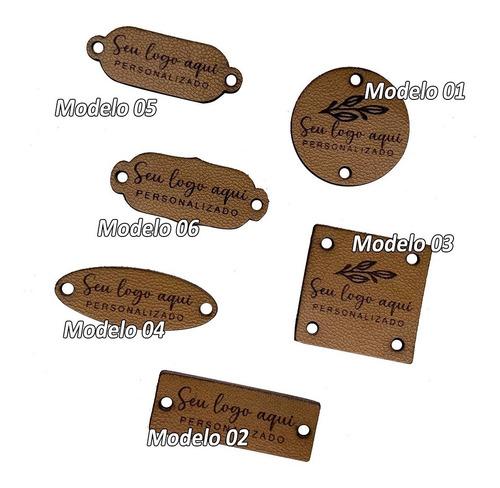 Imagem 1 de 3 de Etiquetas Couro Legítimo Personalizadas 50 Unidades