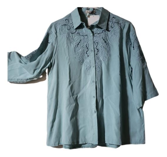 Camisa Bordada Y Calada Importada T.u