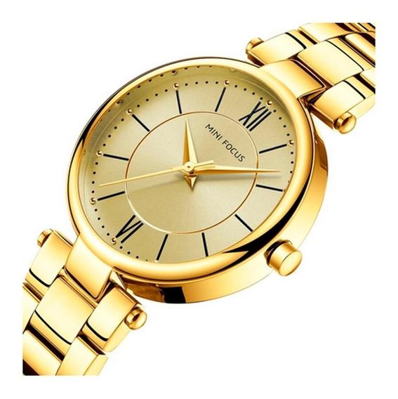 Relógio Feminino Dourado Mini Focus A Prova D´água F Gratis