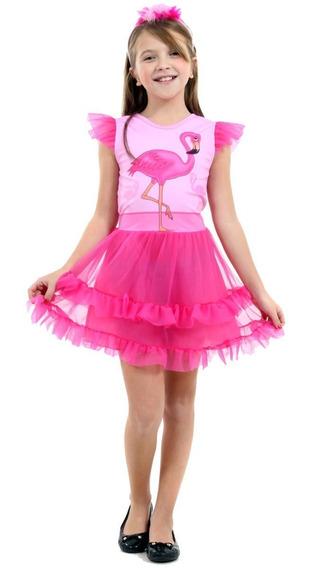 Vestido De Flamingo Infantil Faces Luxo Sulamericana + Tiara