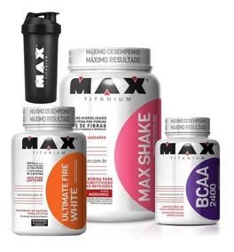 Kit Seca Barriga - Max Shake + Bcaa + Ultimate Fire White