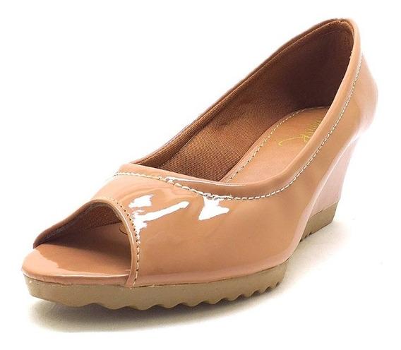 Sapatos Femininos Anabela Peep Toe Verniz Nude Dani K