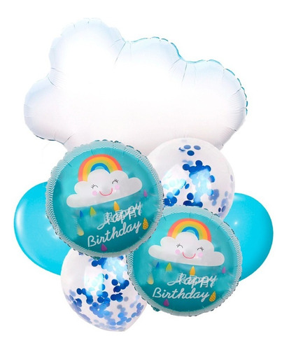 Globo Cumpleaños Nube Set X 7 Piezas