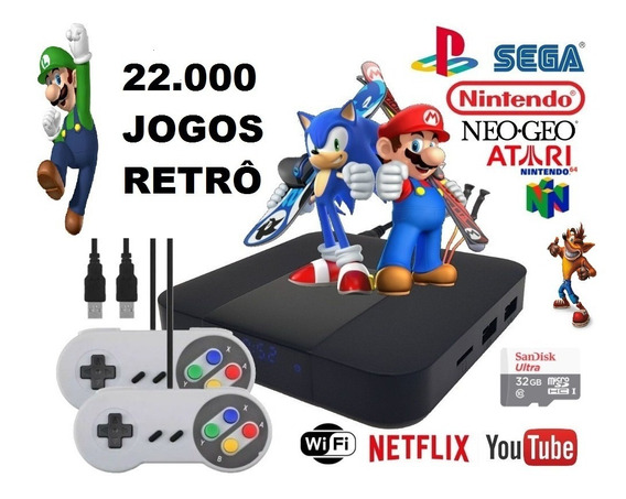 Vídeo Game Retro Com 22.000 Jogos Antigos E 2 Controles Snes